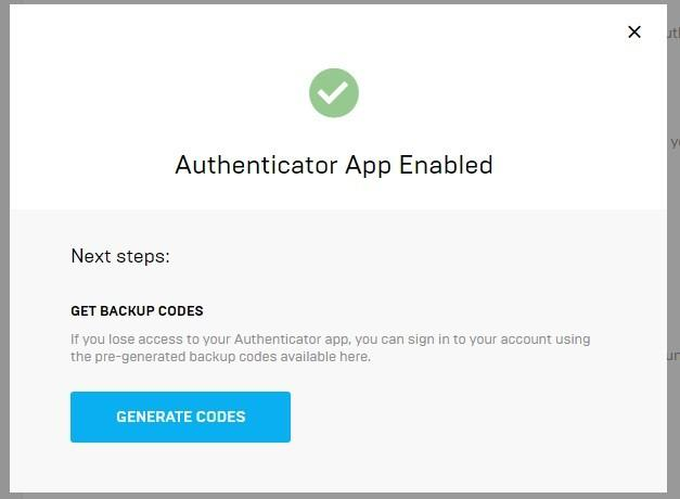 Hardware token based two-factor authentication (2FA) for Fortnite accounts